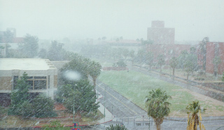 snow falling on the University of Arizona campus