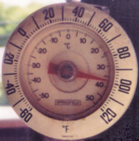 thermometer showing 100 °F (38 C) temperature